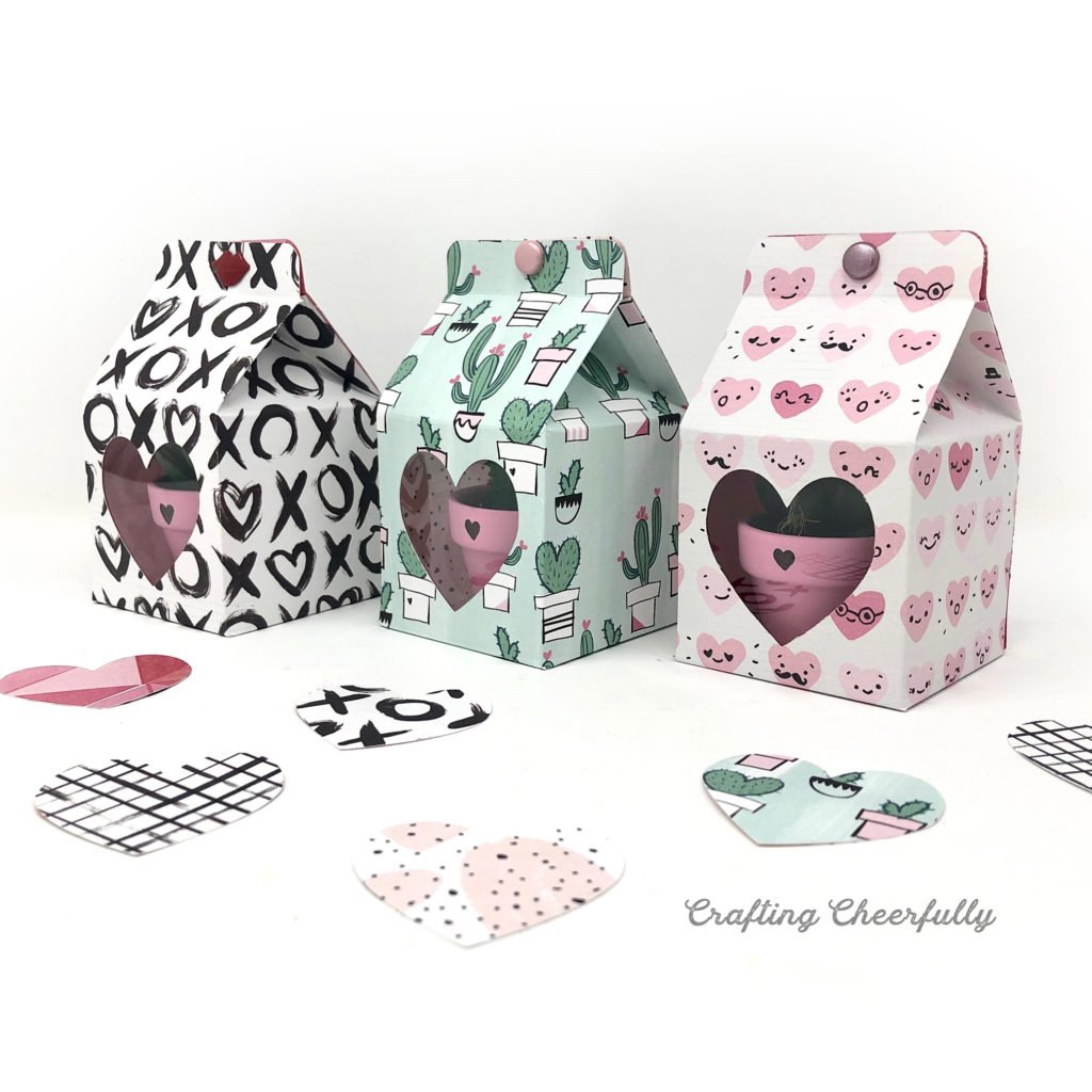 Small cactus plants in pink pots are in handmade Valentine's Day boxes. The boxes have a heart-shaped window and are made from Valentine's Day scrapbook paper.