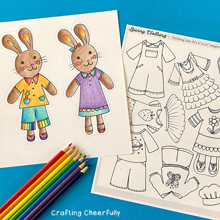 Color-Your-Own Bunny Paper Dolls – free printable coloring pages