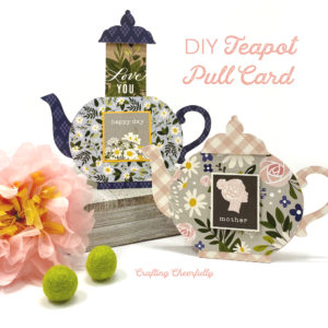 Two DIY Teapot Pull Cards standing next to each other with a pink flower.