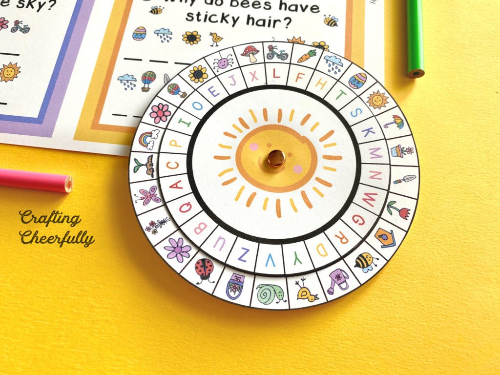 Spring Decoder Wheel on a yellow background.