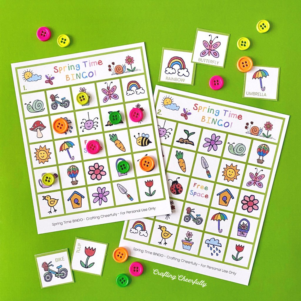 Spring Time BINGO boards on a green background.