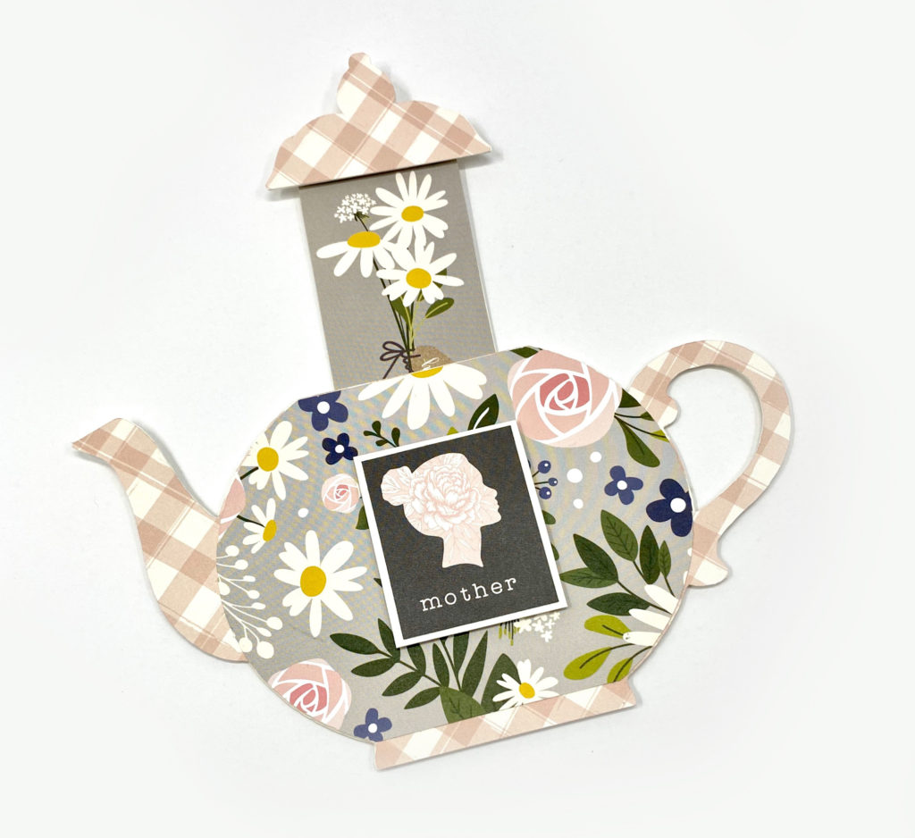 Pink floral teapot card for Mother's Day.