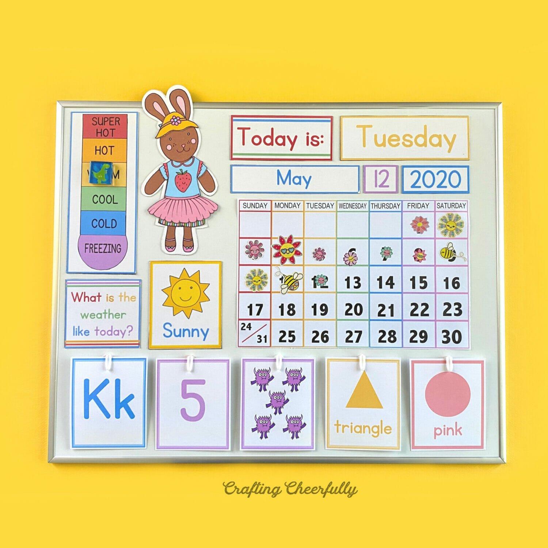 DIY Children's Calendar on a yellow background.