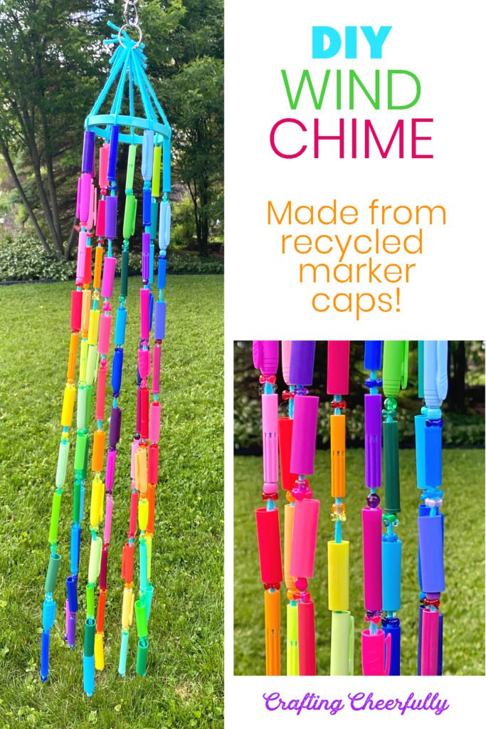 DIY Wind Chime made from recycled marker caps