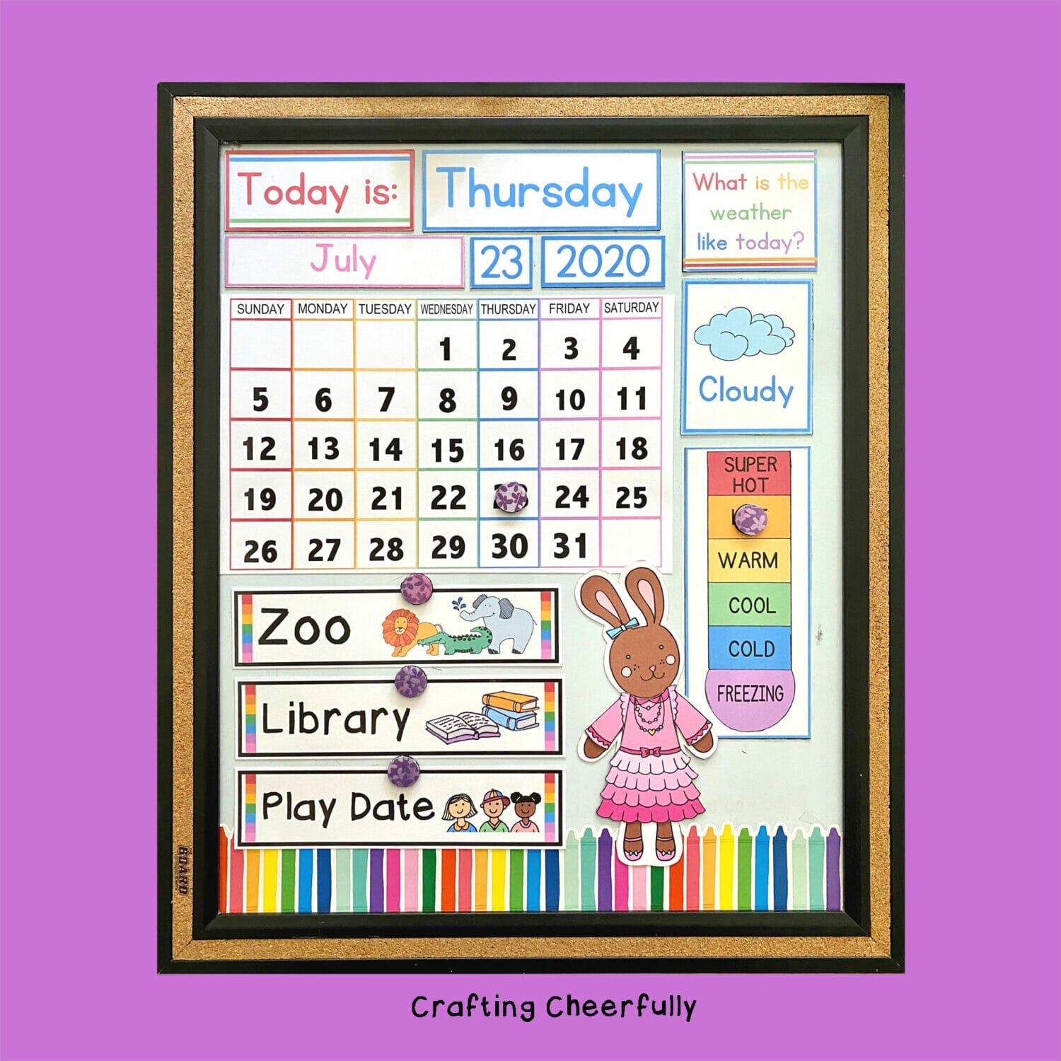 Colorful and happy Children's Calendar on a purple background.