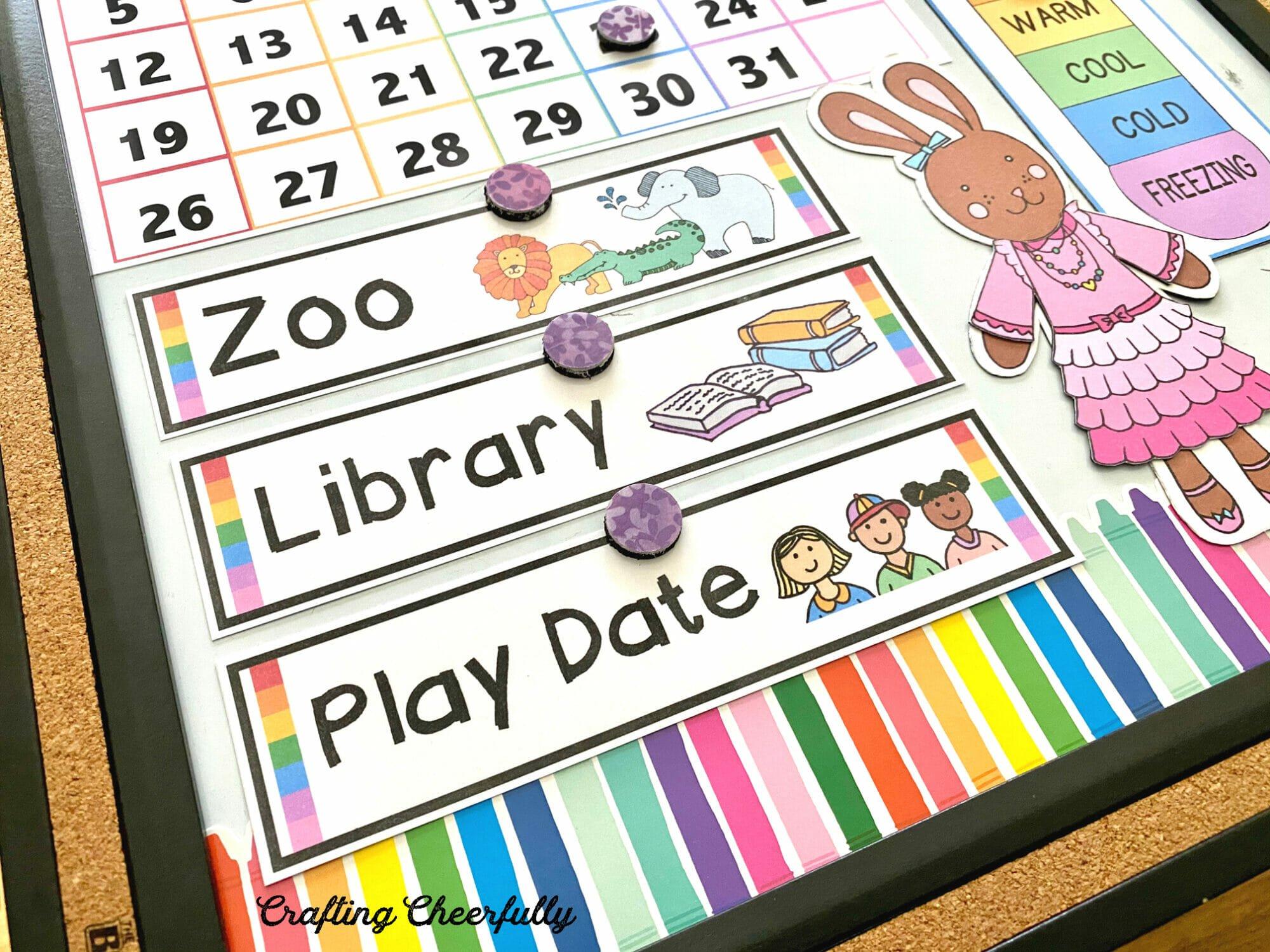 DIY Children's calendar close up picture of visual schedule calendar cards.