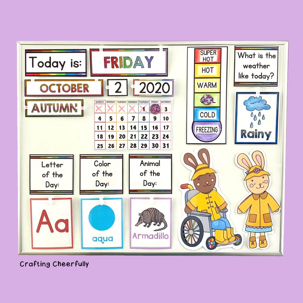 Bright and colorful DIY children's calendar on a white board with a purple background.