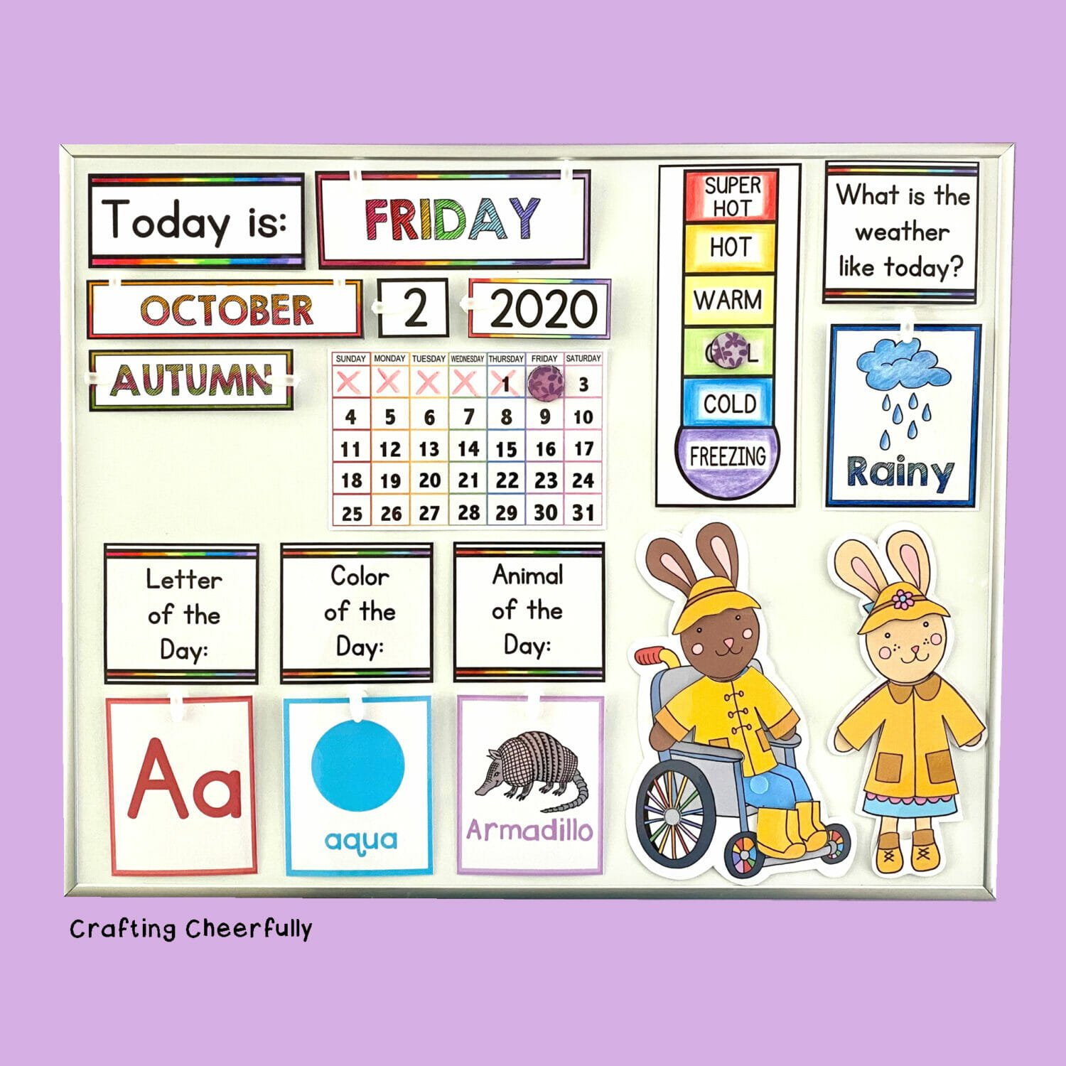 DIY Children's calendar with colorful cards for the day of the week and weather.