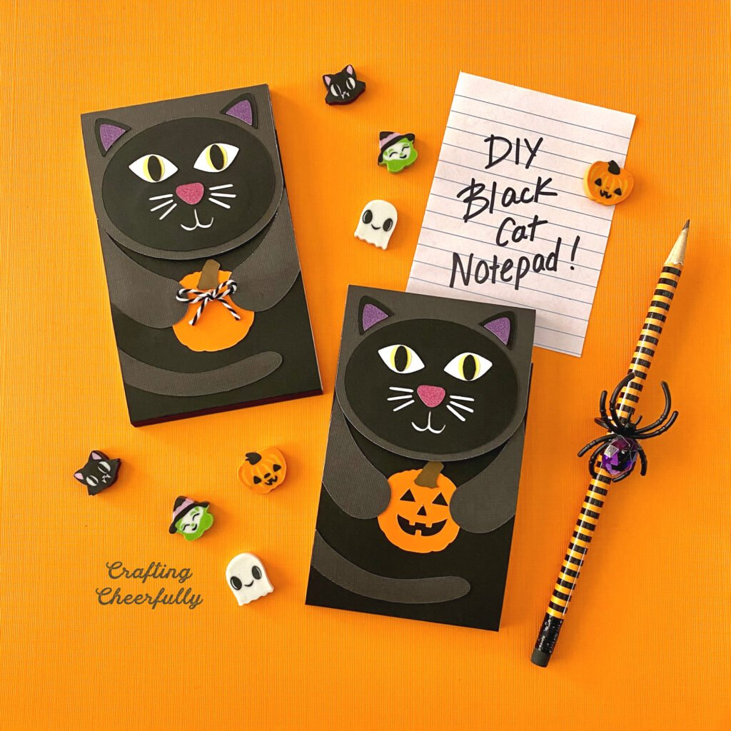 Black cat notepad holding a pumpkin on an orange background with spooky erasers and pencils.