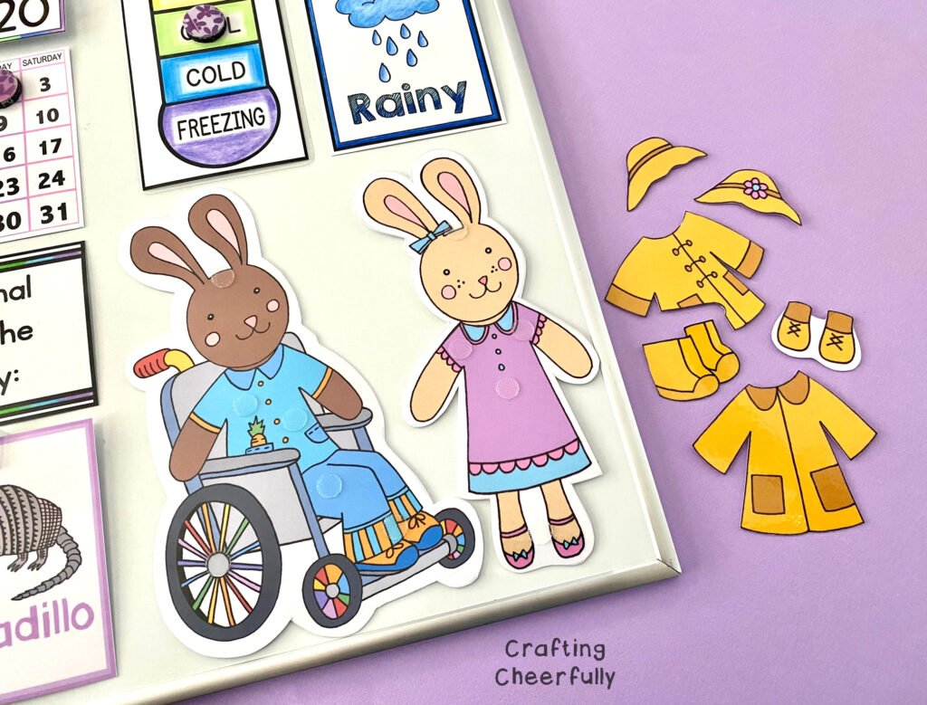 Printable bunnies on a DIY Children's Calendar.
