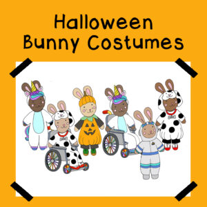 Halloween costumes for bunny paper dolls.