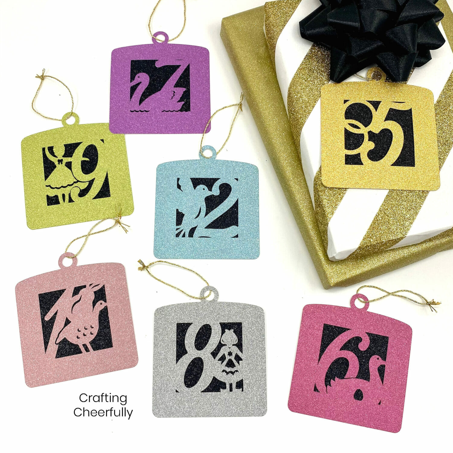 Ornament gift tags designed with the 12 days of Christmas