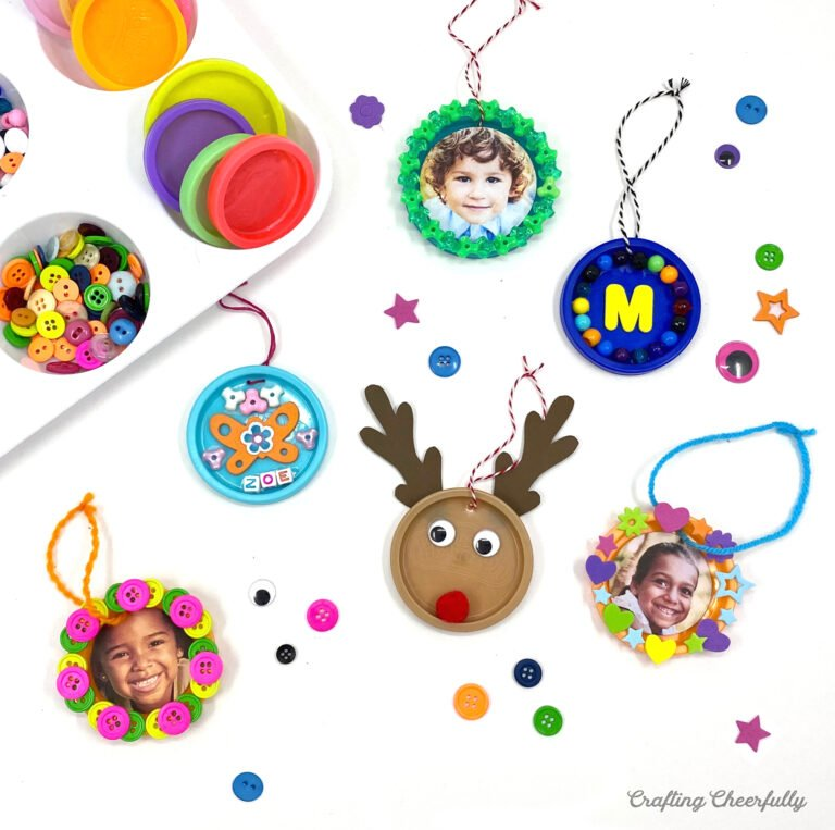 Recycled Play-Doh Lid Ornaments