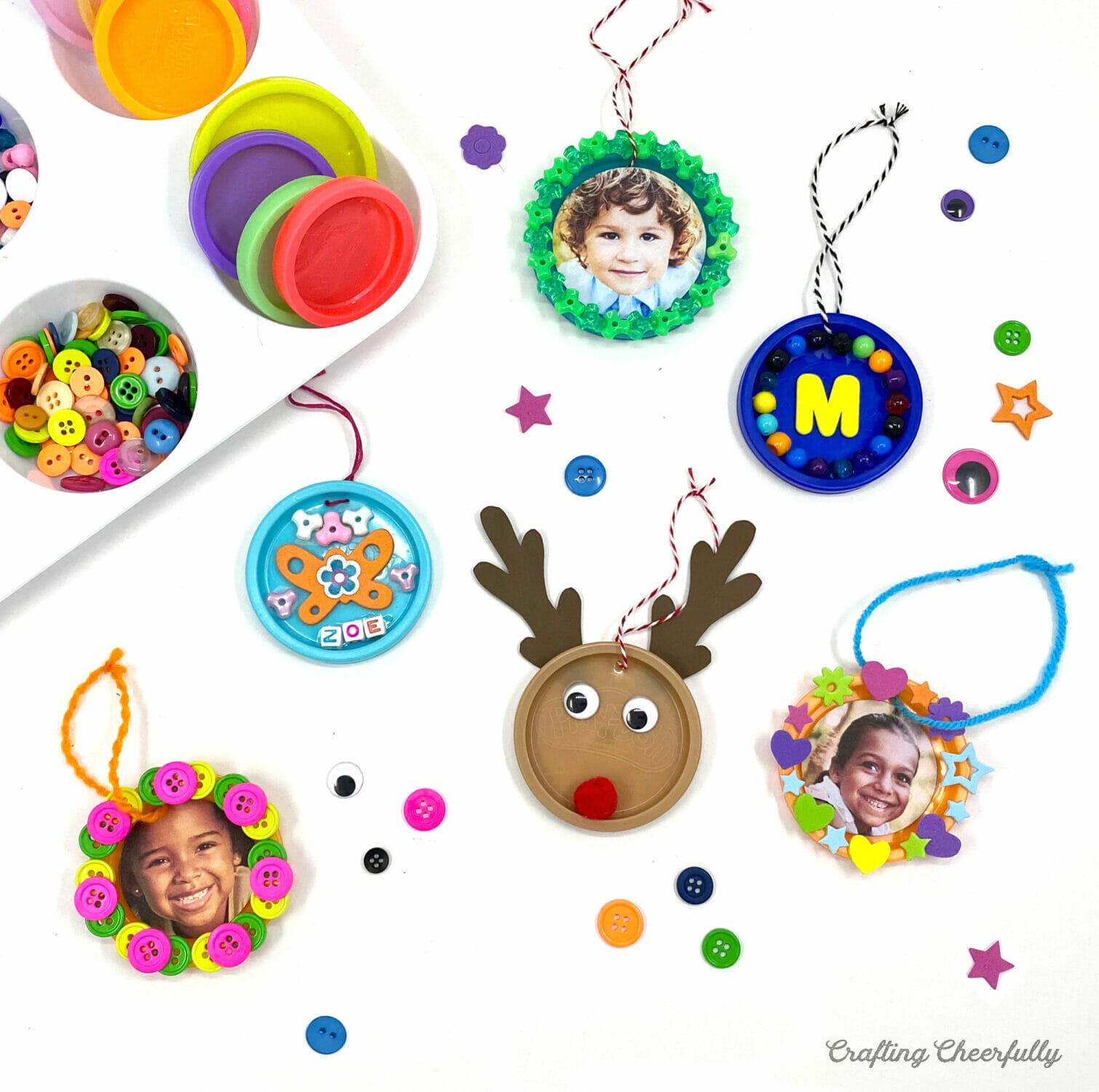 Play-doh lid ornaments