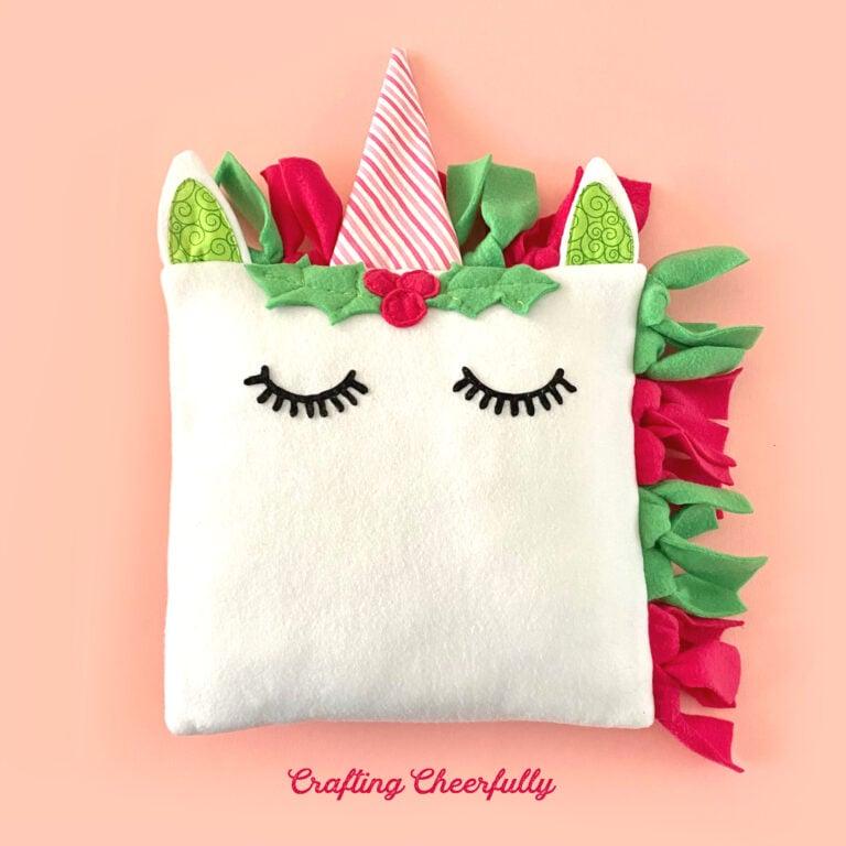 DIY Holiday Unicorn Pillow – Free Sewing Pattern!