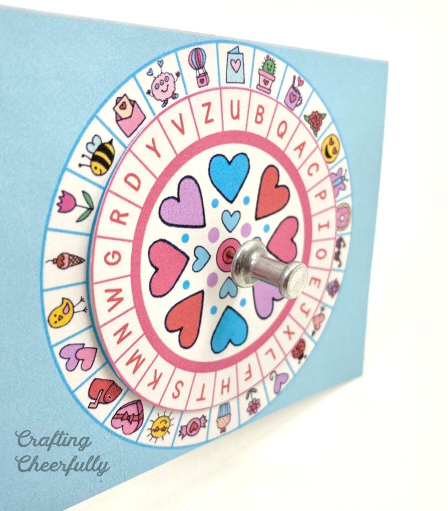 Secret Code Valentine decoder wheel.