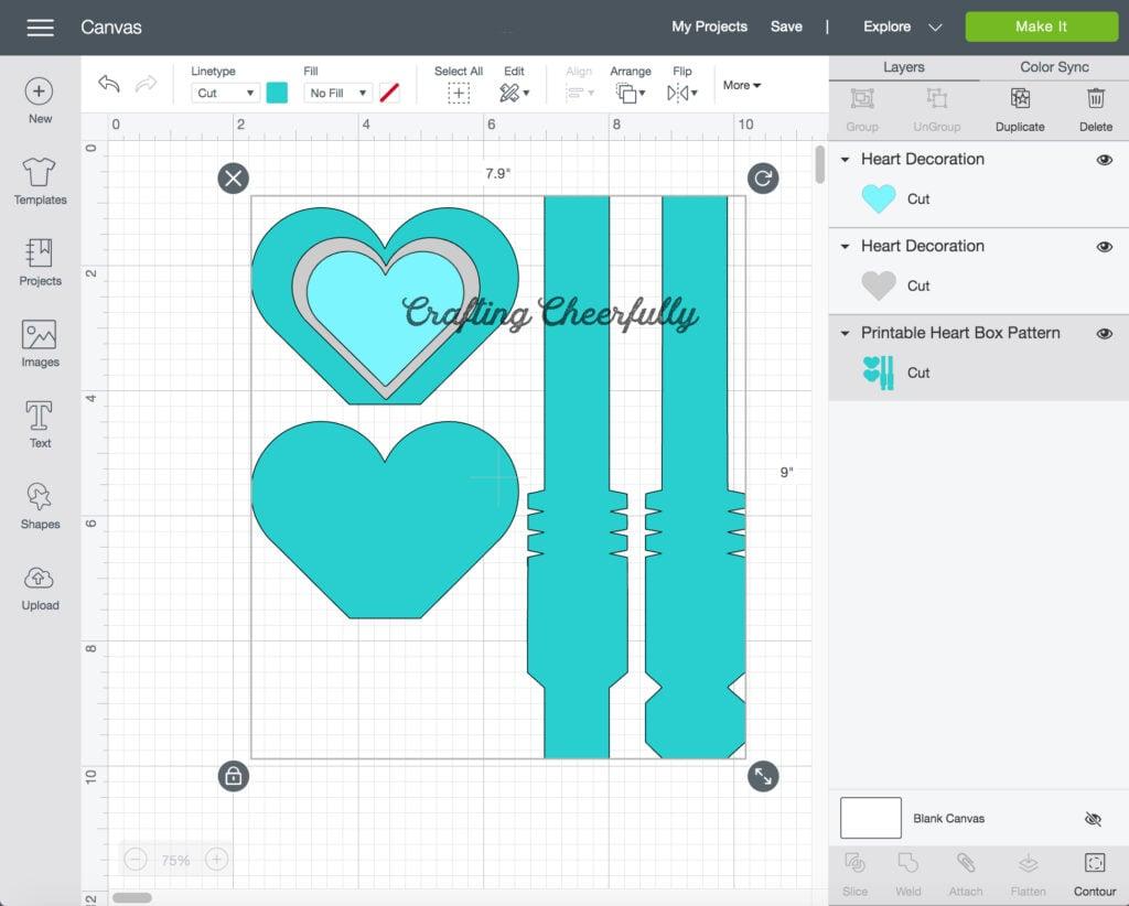 A screenshot of the heart box file in Cricut Design Space.