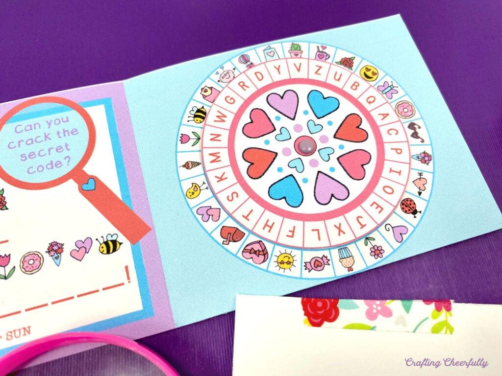 Secret Code Valentine with cute decoder wheel for Valentine's Day