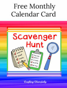 Free Monthly Calendar Card - Scavenger Hunt.