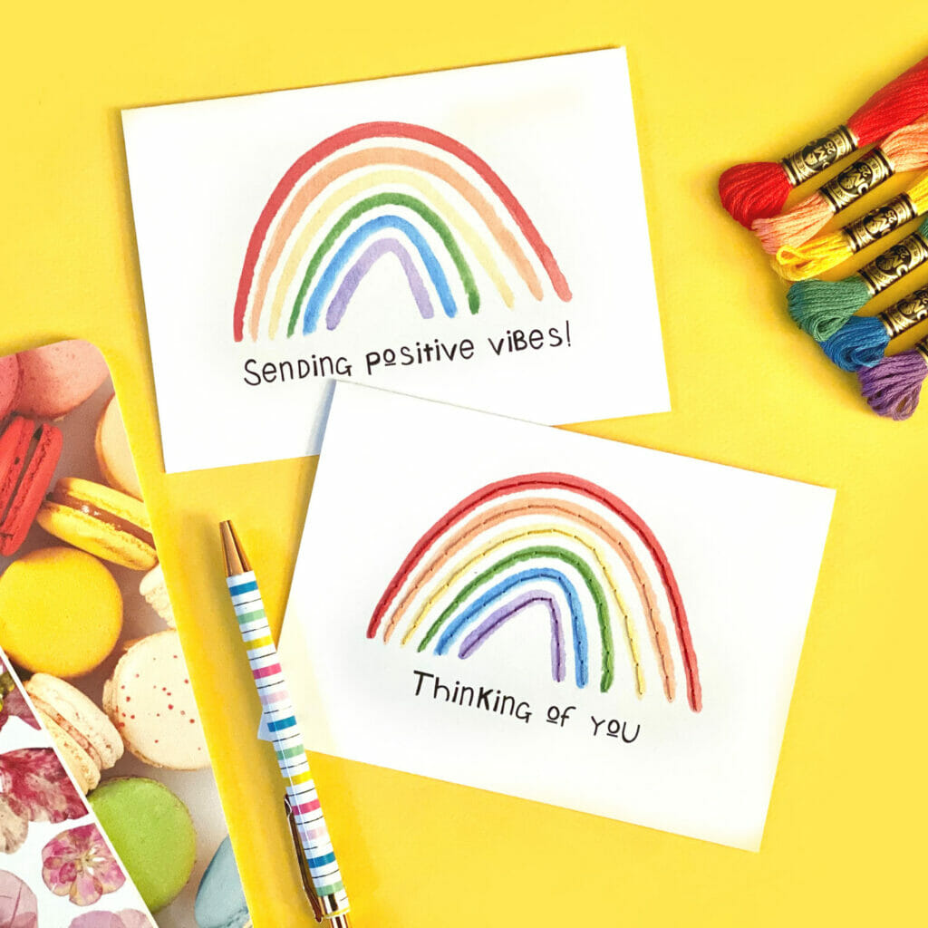 Rainbow cards on a yellow background!