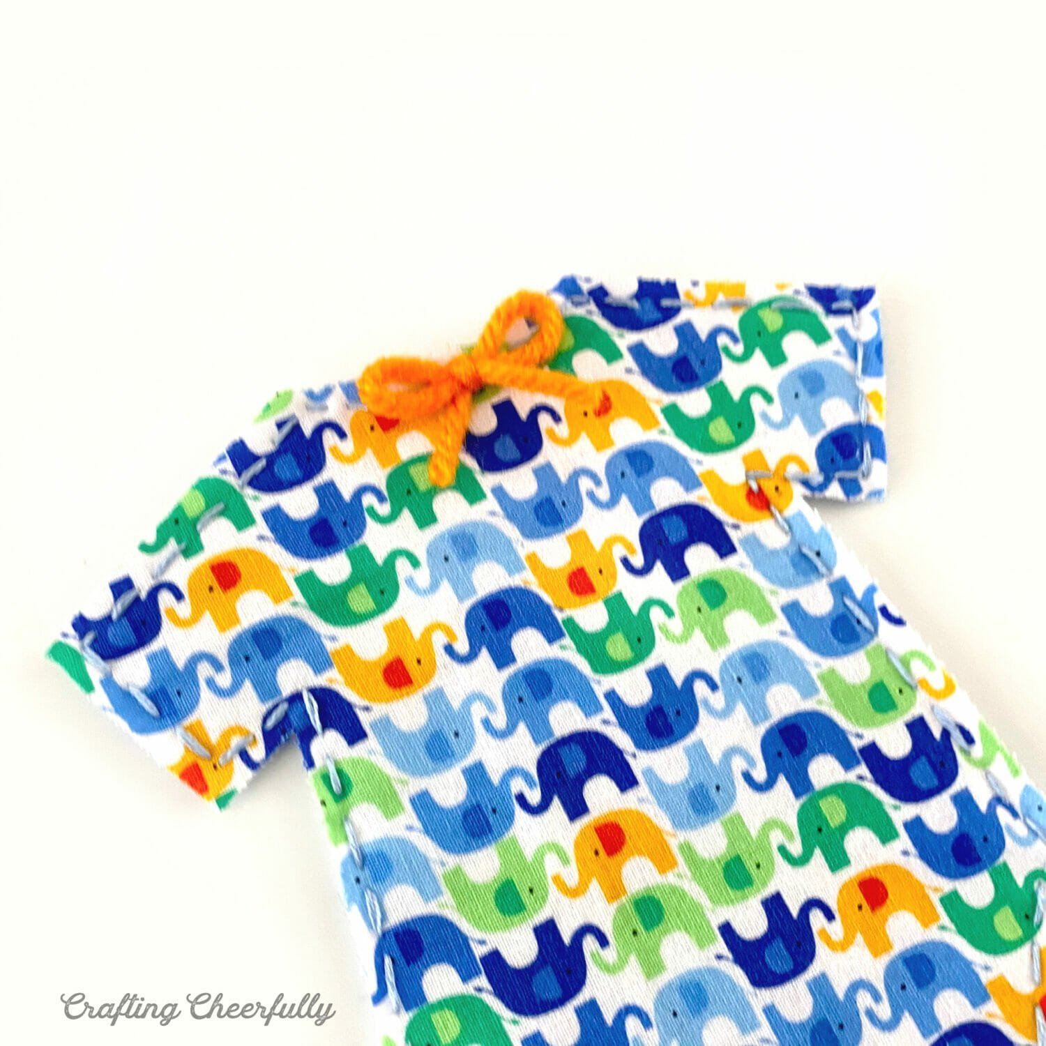 Close up picture of the elephant onesie for the banner.