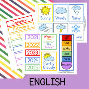 DIY Children's Calendar in English Printables