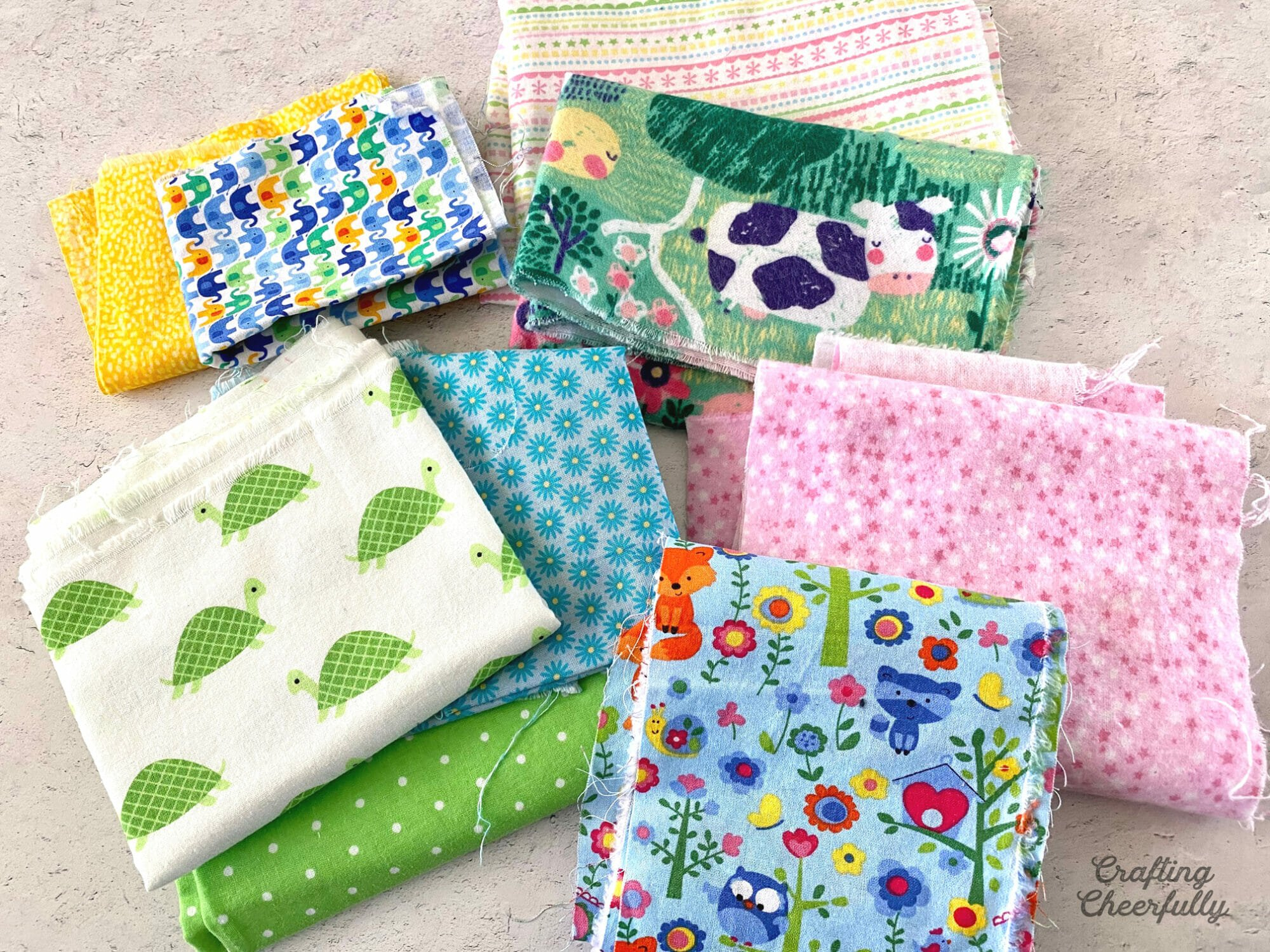 Cotton fabric with cute prints.