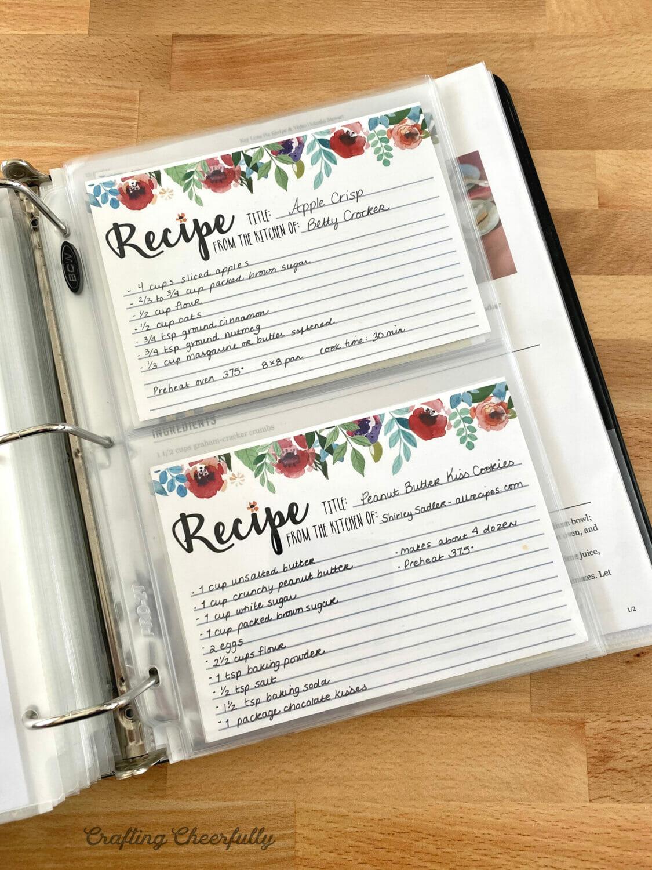 Recipe Cards for Recipe Binder
