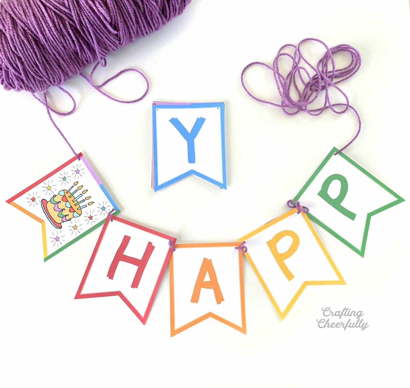Colorful Rainbow Birthday Banner – Free Printable