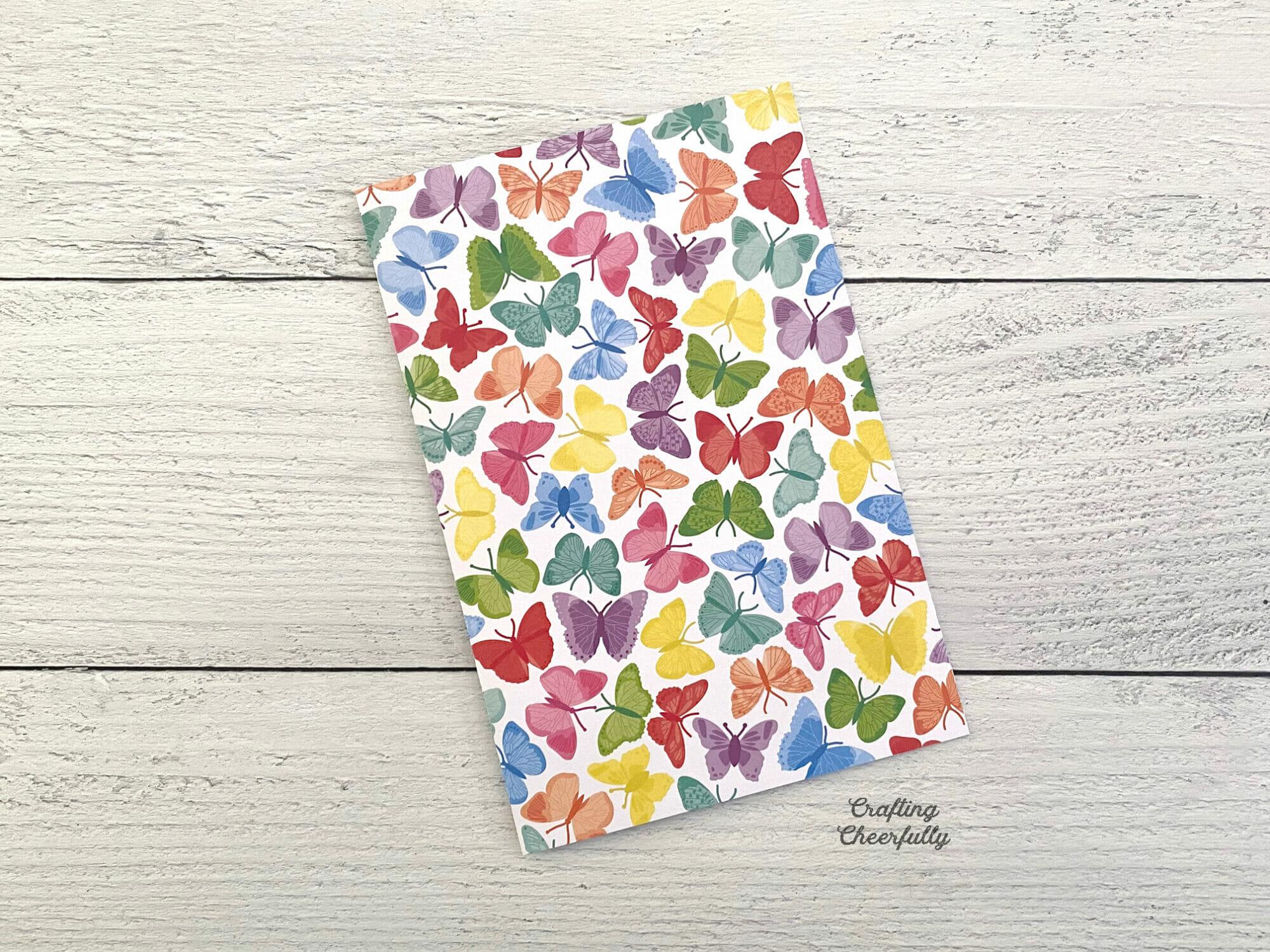 DIY journal made from butterfly scrapbook paper.