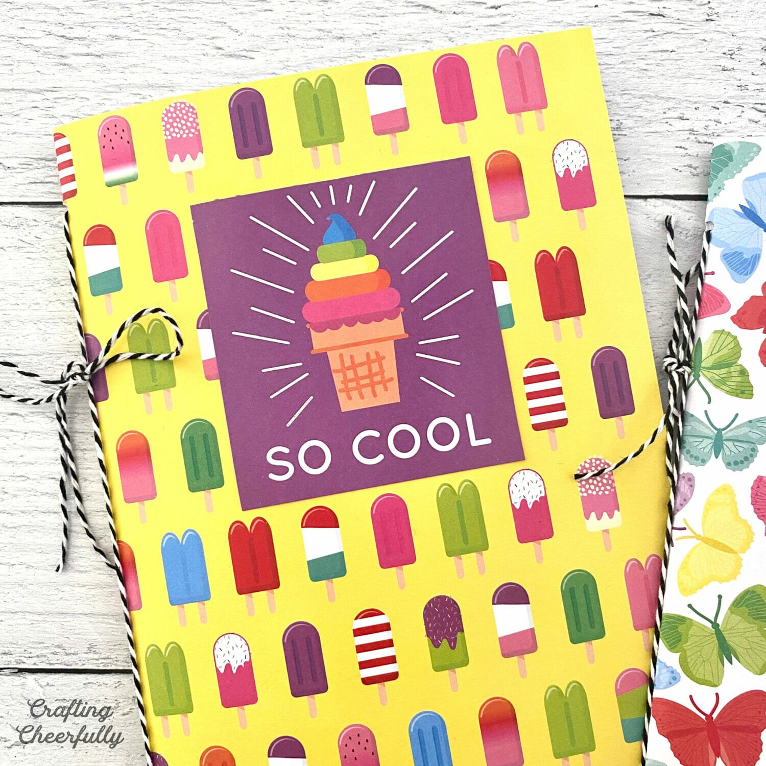 DIY Summer notepad made with ice cream themed paper.