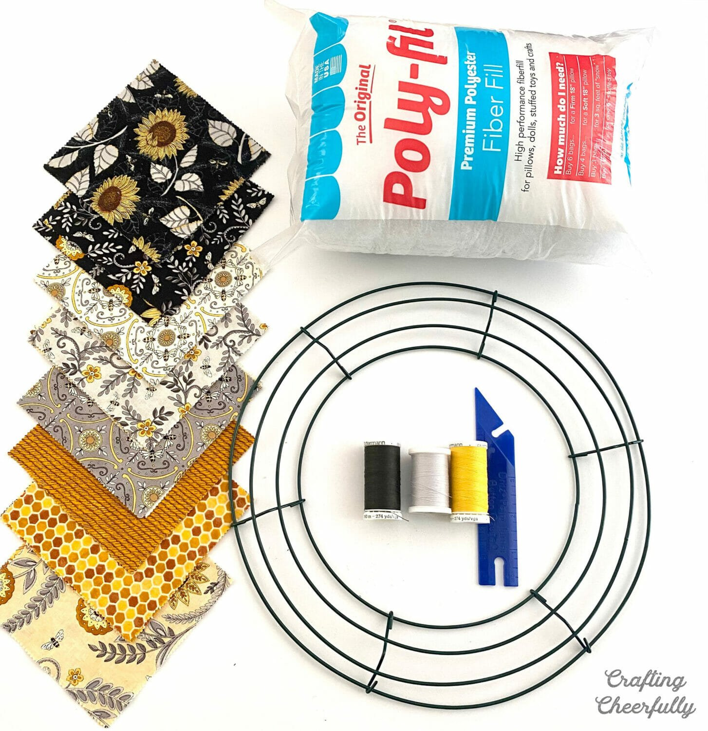 Supplies needed for Bee Pillow Wreath
