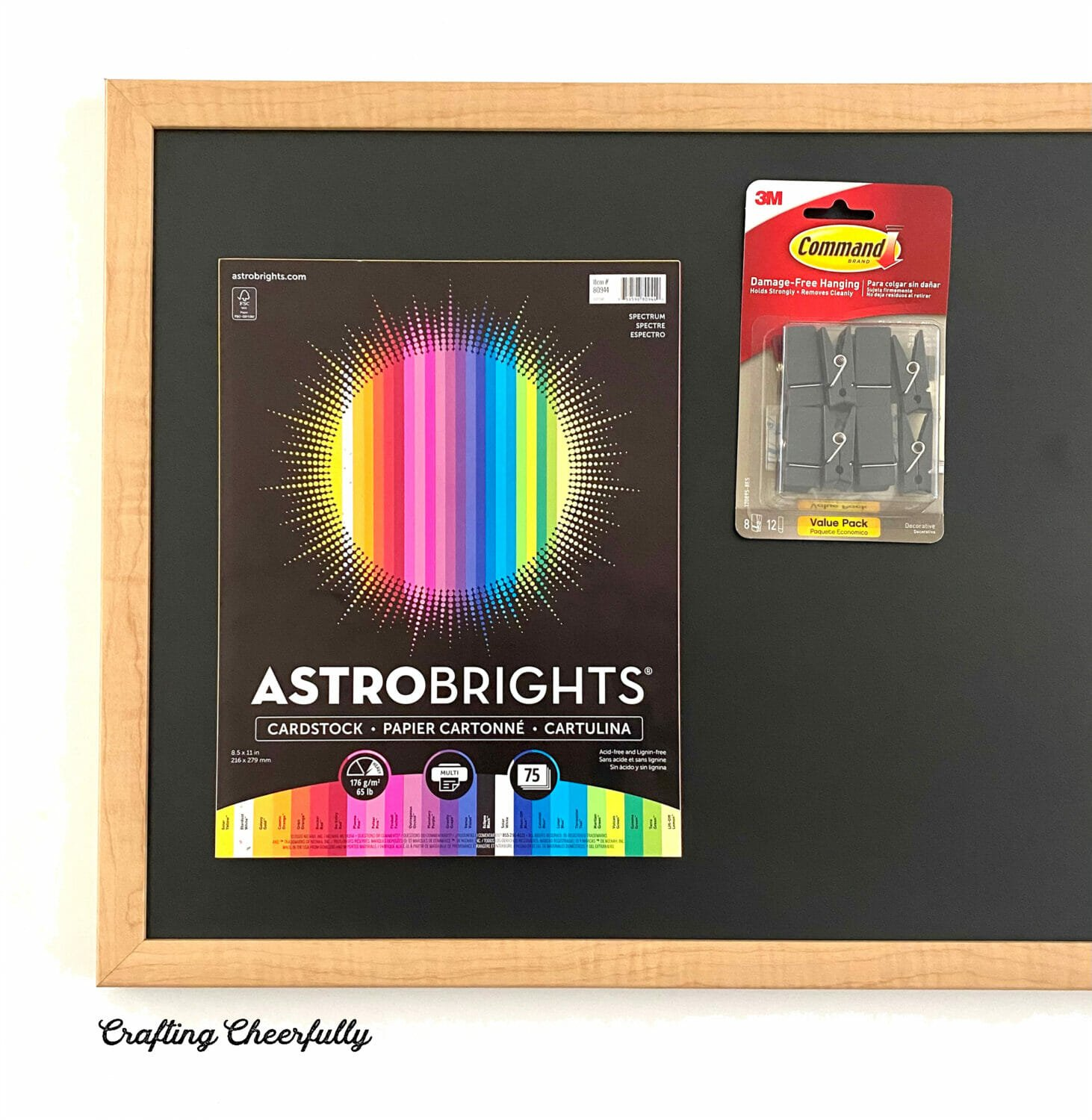 Supplies needed including chalkboard, Astrobrights paper and Command Clips in black.