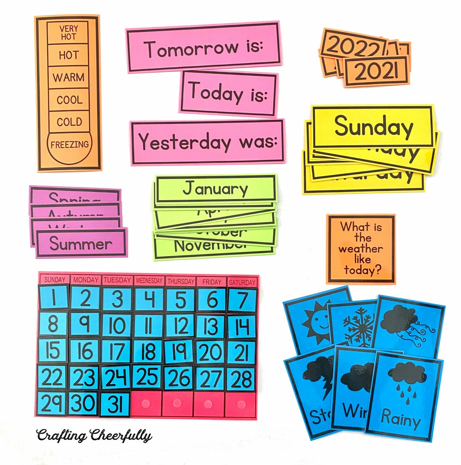 Printables on colored cardstock.