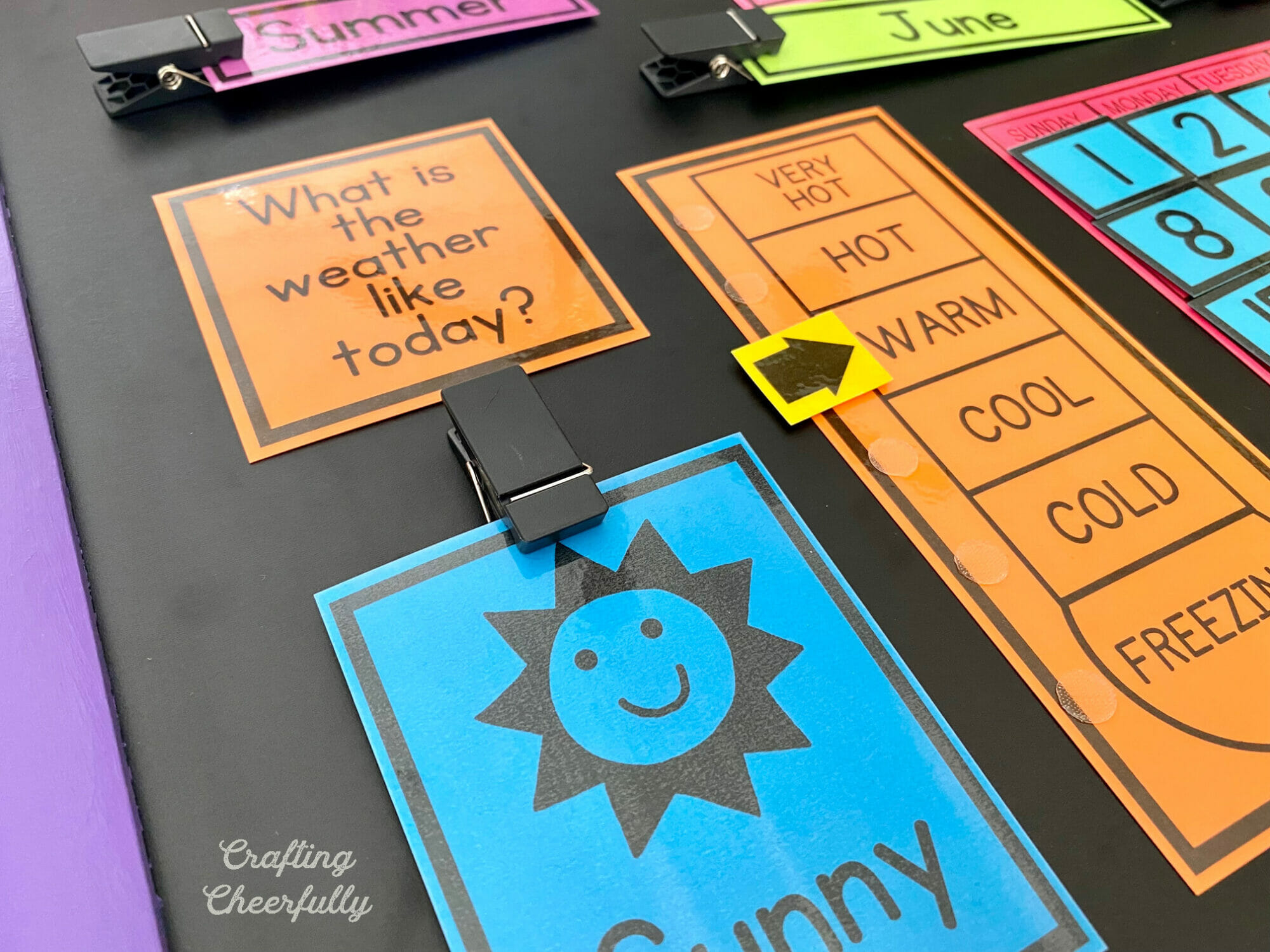 Colorful printables on a chalkboard.