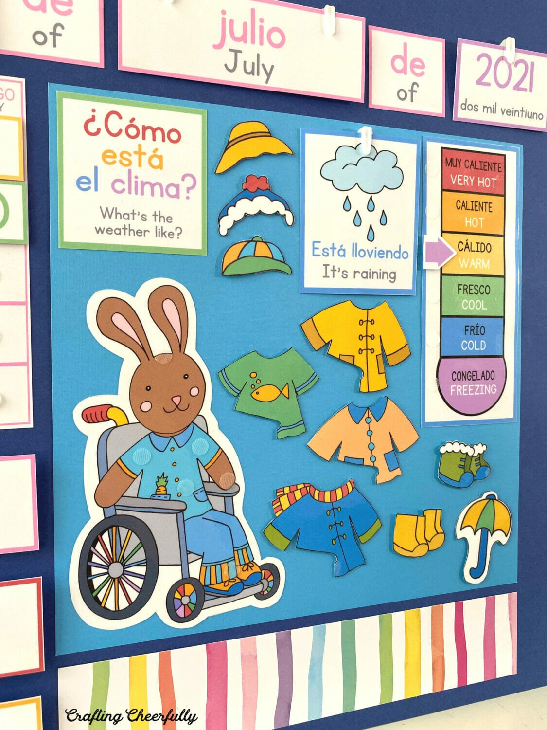 Morning Board in Spanish and English showing weather bunnies.