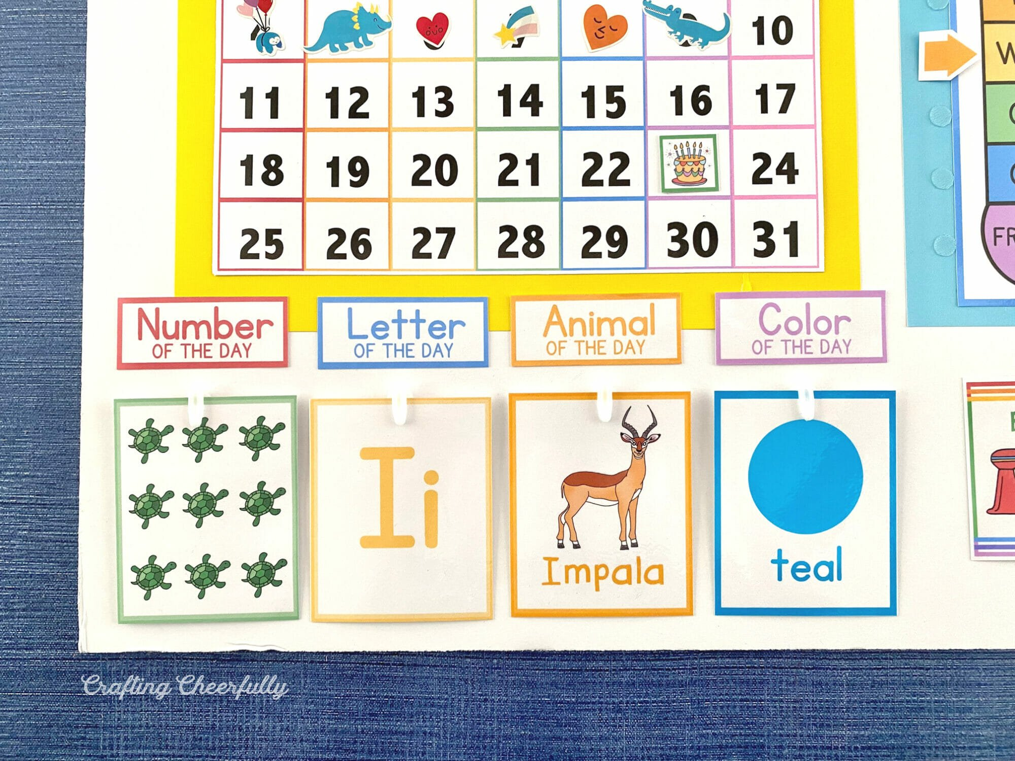 Preschool learning cards on the calendar including animal, number, color and letter.