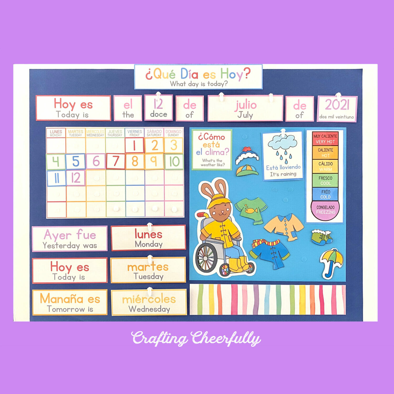 DIY Morning Board in English and Spanish