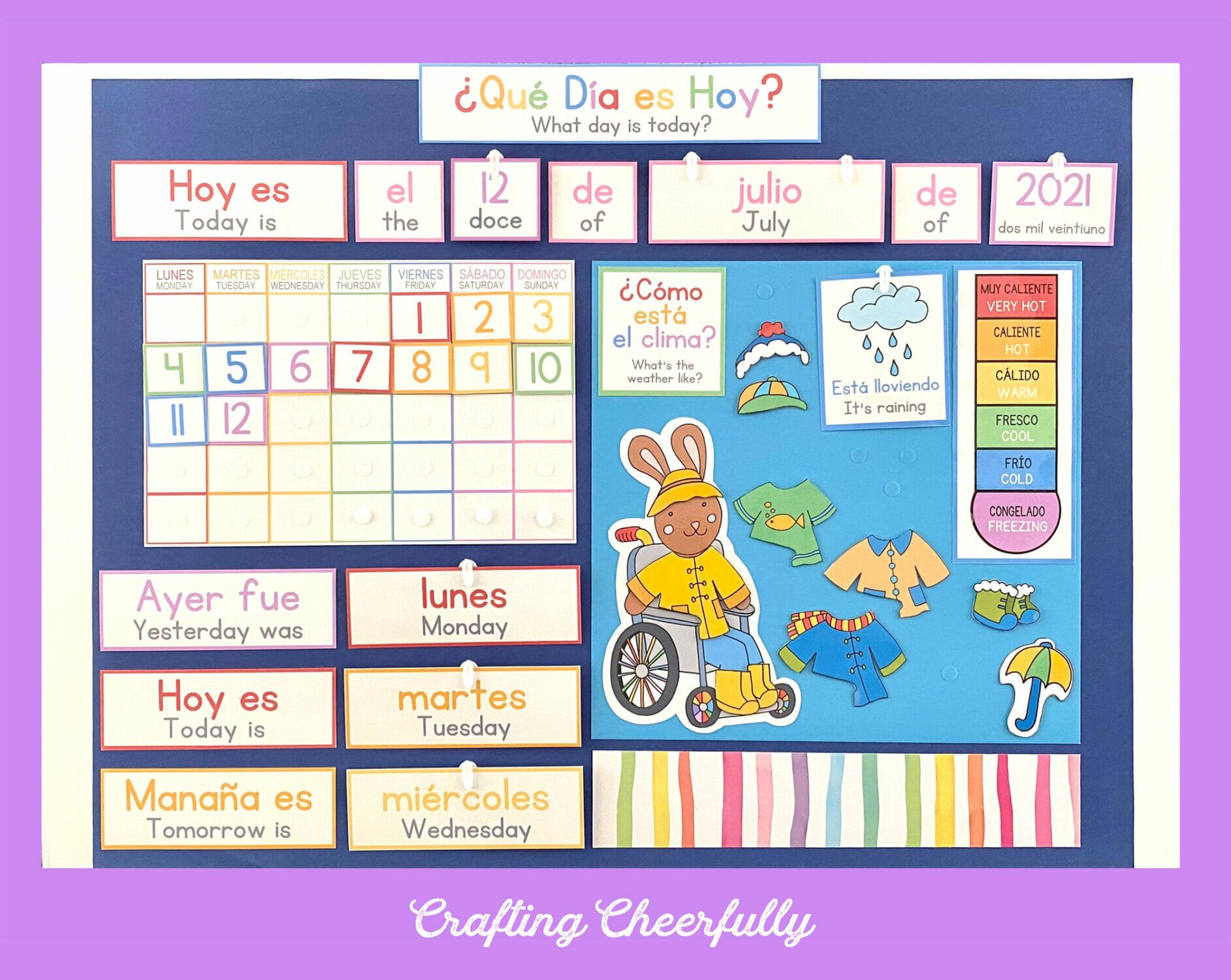 Morning Board in Spanish and English