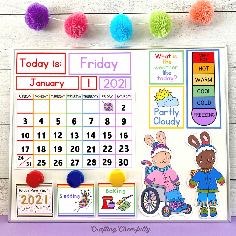 Colorful children's calendar free printables