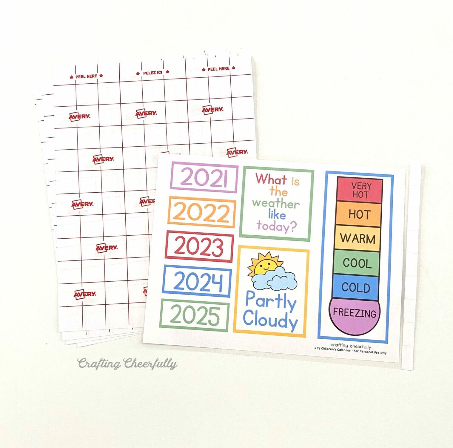 Laminating sheets and free calendar printables.