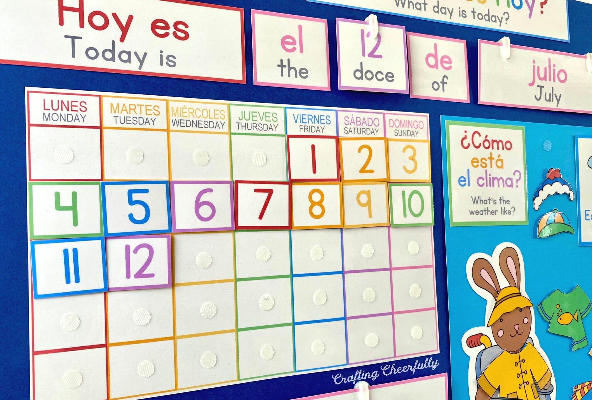 DIY Morning Board in Spanish and English