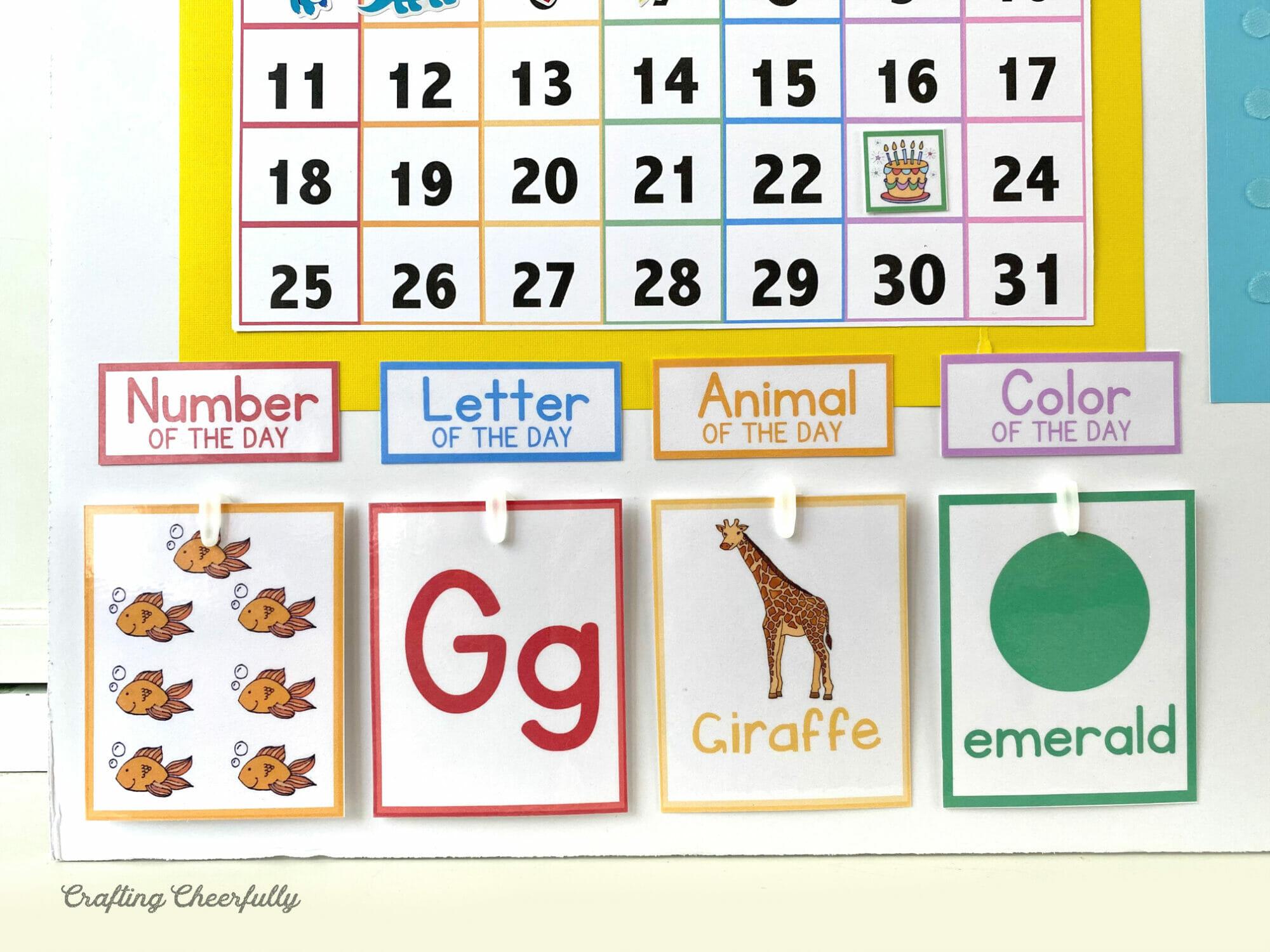Preschool Learning Cards on DIY Morning Calendar Board
