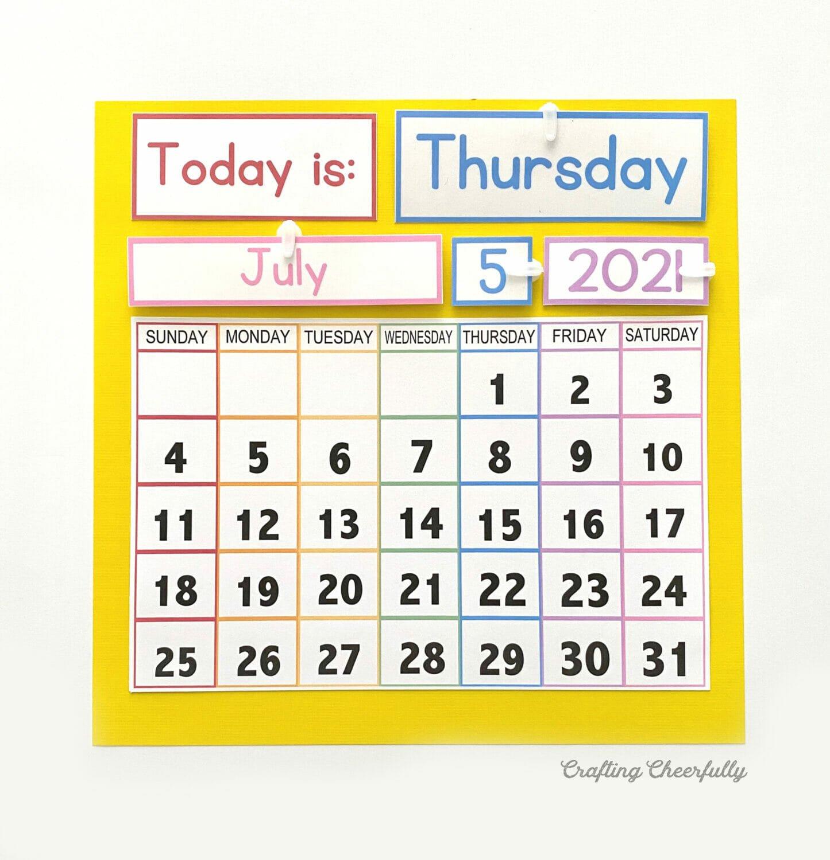 Free calendar printable for Calendar Morning Board