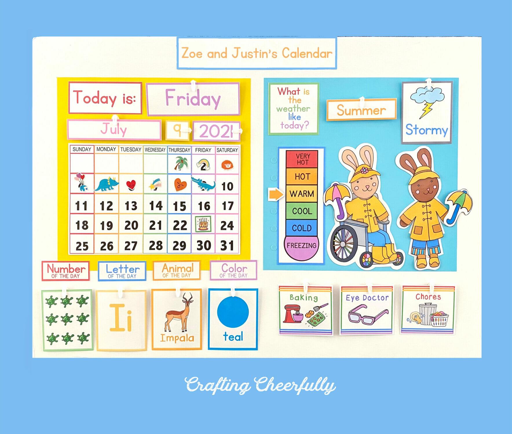 Morning Calendar Board with Free Calendar Printables