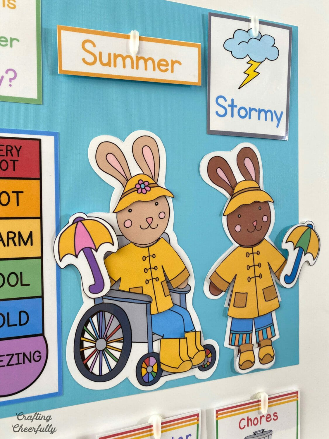 DIY Morning Calendar Board featuring Bunnies kids can dress for the weather.
