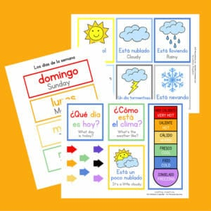 Dual language Spanish and English Calendar Pages