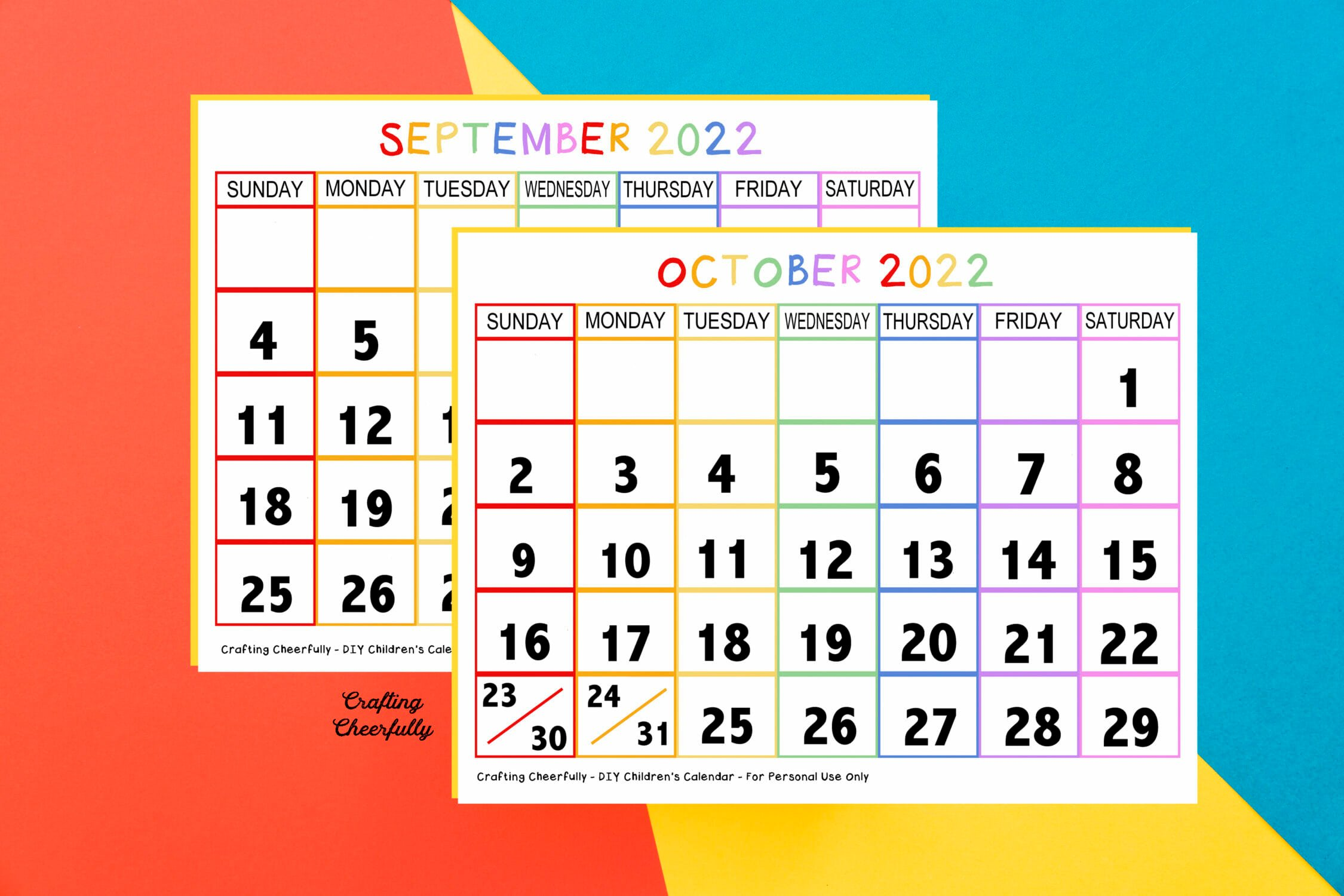 Free calendar pages on a red, yellow and blue background..