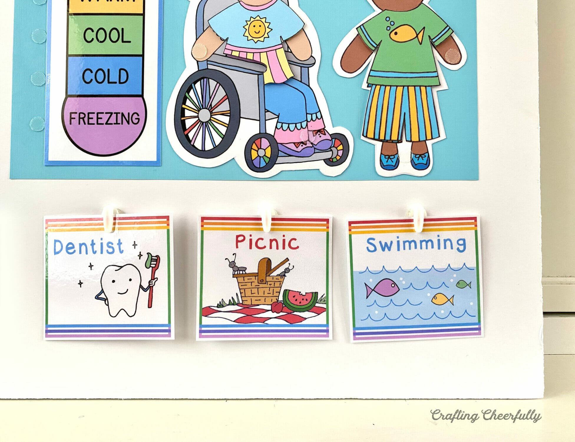 Daily activity cards for calendar morning board.