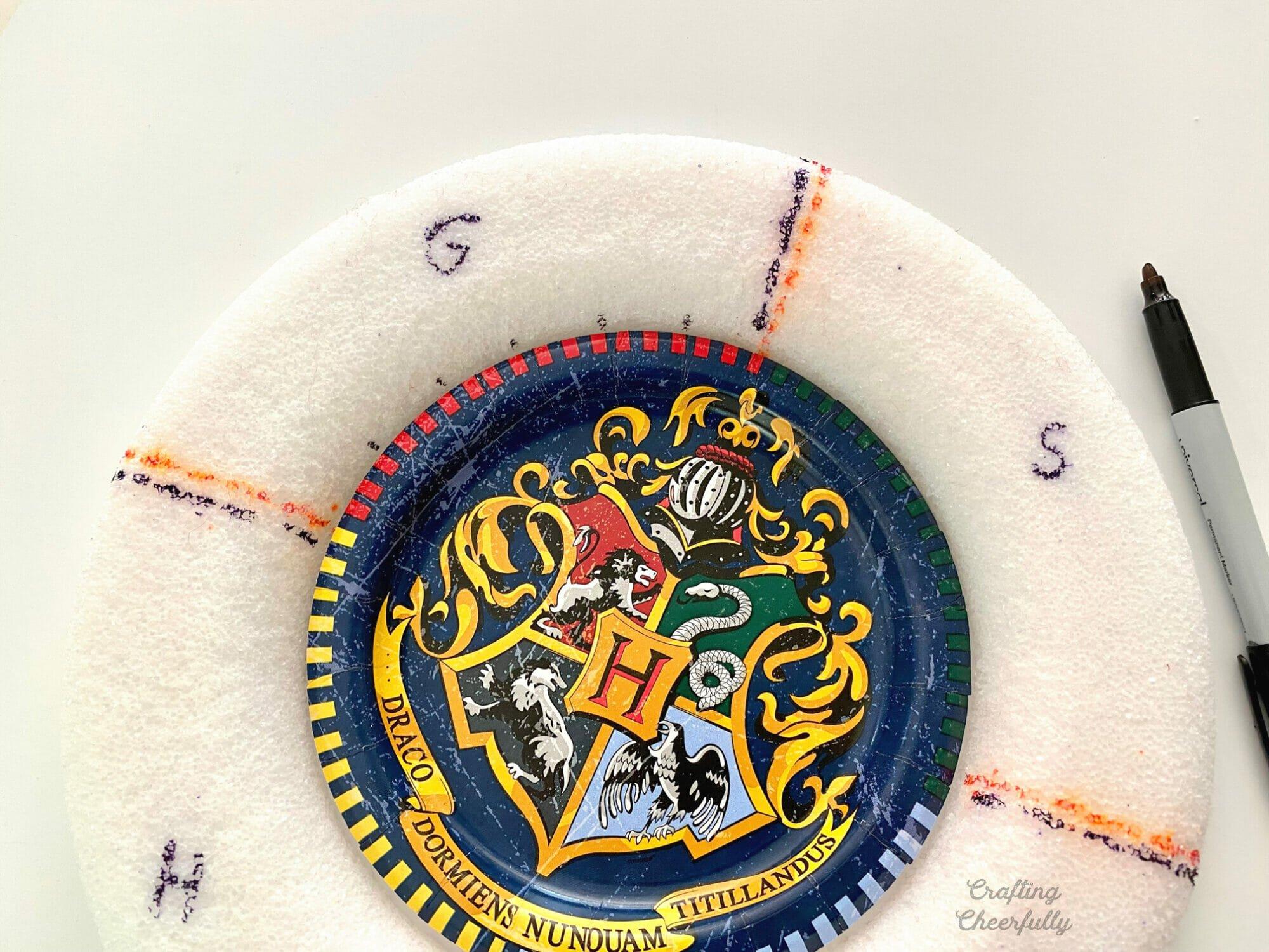 Harry Potter paper plate set inside a foam wreath.
